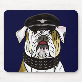 Funny and Tough Bulldog with Leather Clothes Mousepads
