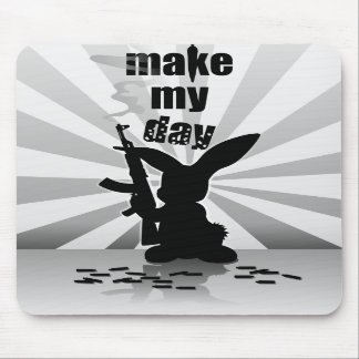 Funny angry armed rabbit mouse pad