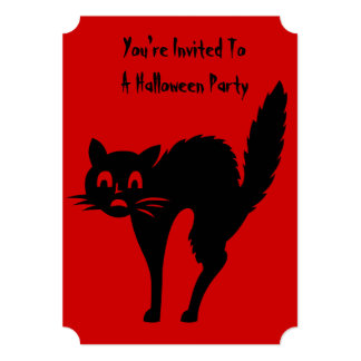 funny angry black cat halloween party invitation