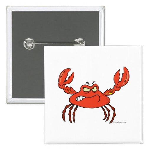 funny angry crabby red crab 2 inch square button