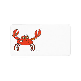 funny angry crabby red crab label