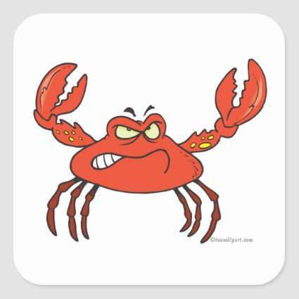 funny angry crabby red crab stickers
