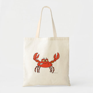 funny angry crabby red crab tote bag
