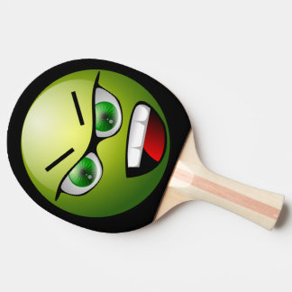 Funny Angry Face Green Black Ping Pong Paddle
