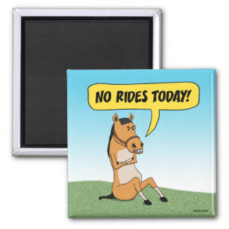 Funny Angry Horse 2 Inch Square Magnet