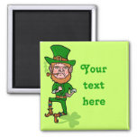 Funny Angry Lucky Irish Leprechaun 2 Inch Square Magnet