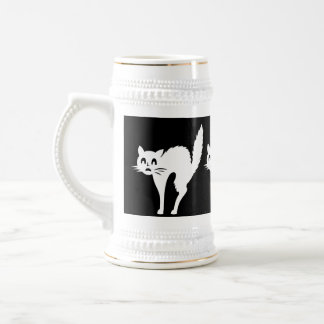 funny angry white cat with arched back halloween beer stein