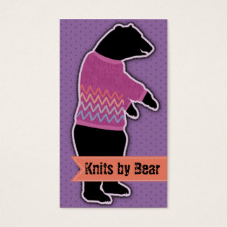 funny animal bear sweater knitting crochet purple business card