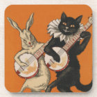 Funny Animal Coasters - Black Cat and White Rabbit