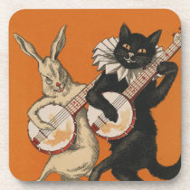 Funny Animal Coasters - Black Cat and White Rabbit
