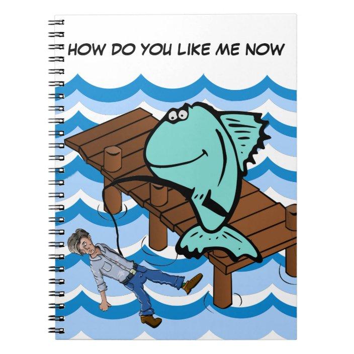 Funny Animal Fish Cartoon Fishing Humor Notebook Zazzle Com