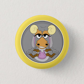 Funny animal, goat pinback button