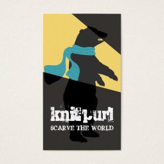 funny animal headlight bear scarf knitting crochet business card