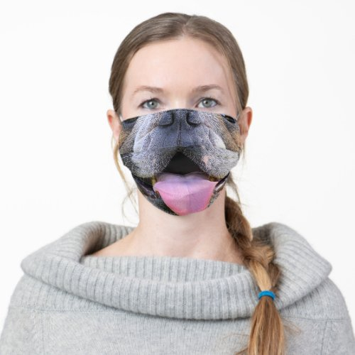 funny animal lover bulldog mouth cloth face mask