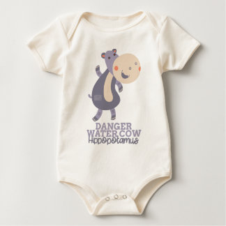 Funny Animal Meme Danger Water Cow HIPPOPOTAMUS Baby Bodysuit