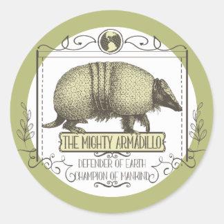 Funny animal Mighty Armadillo vintage superhero Classic Round Sticker