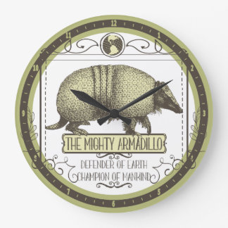 Funny animal Mighty Armadillo vintage superhero Large Clock
