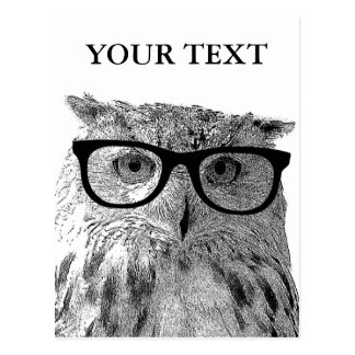 Funny animal postcards | Owl wearing glasses photo