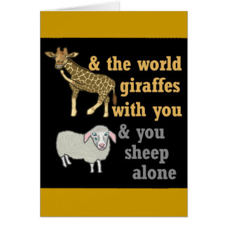 Funny Animal Pun, Giraffe and Sheep Card