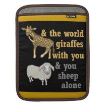 Funny Animal Pun, Giraffe and Sheep Sleeve For iPads
