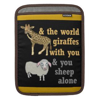 Funny Animal Pun, Giraffe and Sheep Sleeves For iPads