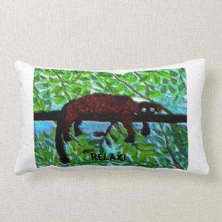 Funny animal red lemur painting throw pillow