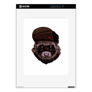 Funny Animal with Hat Skin For The iPad