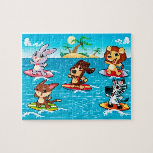 Funny animals are surfing in the sea. jigsaw puzzles