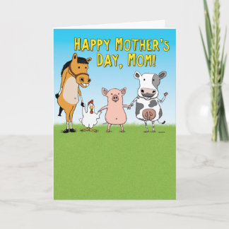 Funny Animals Raised in a Barn Mother's Day Card