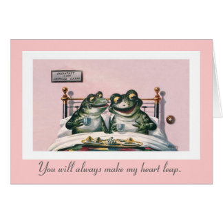 Funny Animals; Vintage Frogs Valentine's Day Card