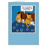 Funny anniversary card: Horses in Bed Card
