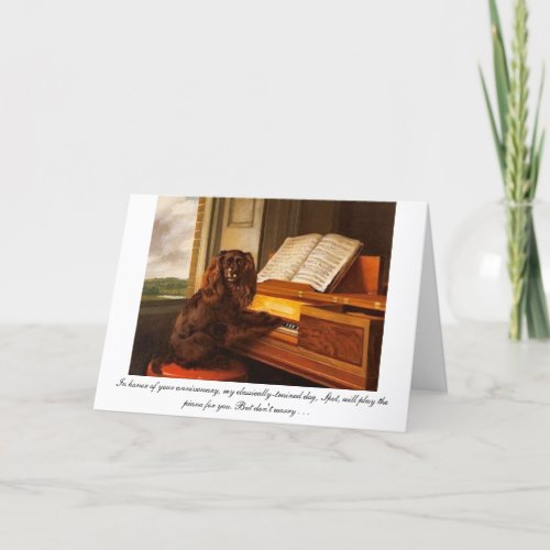 Funny anniversary card with dog and piano
