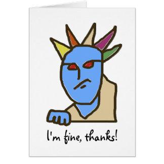 Funny Annoyed Cartoon I'm Fine Card
