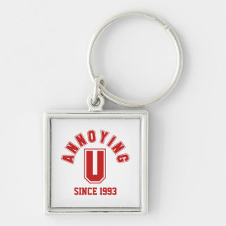 Funny Annoying You Premium Keychain, Red Silver-Colored Square Keychain