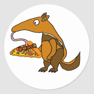 Funny Anteater eating Pizza Cartoon Classic Round Sticker