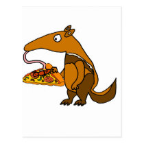 Funny Anteater eating Pizza Cartoon Postcard