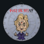 "Funny Anti Hillary Clinton Political Art Dartboard With Darts<br><div class=""desc"">Funny anti Hillary Clinton political cartoon says Over the Hillary for those who think that she is past her prime for running for office.</div>"