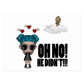 funny anti vday uninvited cupid emo girl postcard