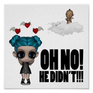 funny anti vday uninvited cupid emo girl poster