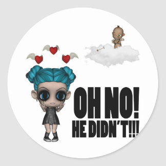 funny anti vday uninvited cupid emo girl classic round sticker