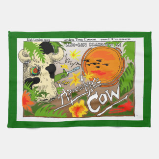 Funny Apocalypse Cow Kitchen Towel by Rick London Hand Towels