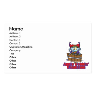 funny apple bobbing champion cartoon business card templates