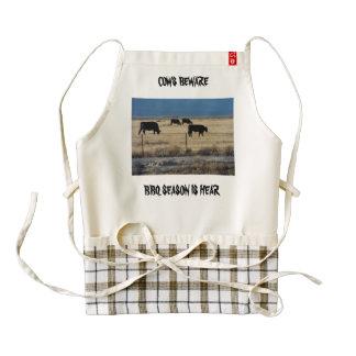 Funny apron, Cow beware BBQ season is hear. Zazzle HEART Apron