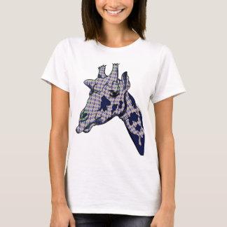 Funny Argyle Patterned Giraffe Head T-Shirt