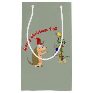 Funny Armadillo Christmas Small Gift Bag