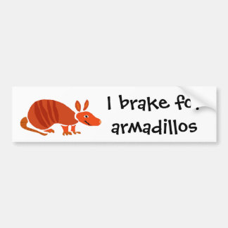 Funny Armadillo Primitive Art Design Bumper Sticker