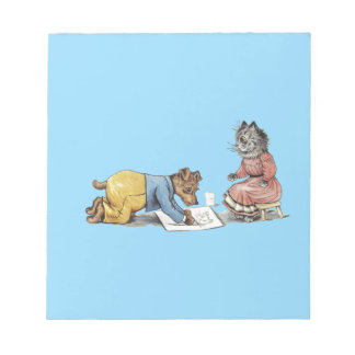 funny artist dog drawing a cat memo pads