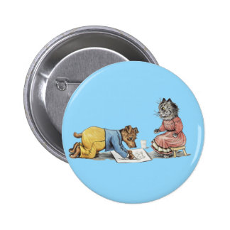 funny artist dog drawing a cat pinback button