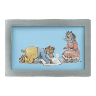 funny artist dog drawing a cat rectangular belt buckle