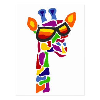 Funny Artistic Giraffe Wearing Sunglasses Art Postcard